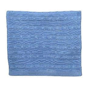 Manta em Tricô Trançada Luxo - Azul Clara