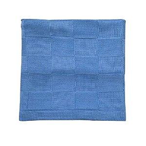Manta em Tricô Quadriculada - Azul Claro