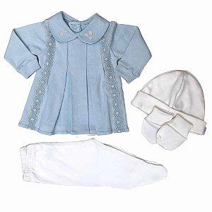 Vestido e Calça em Algodão Egipcio Bordado - Azul Claro