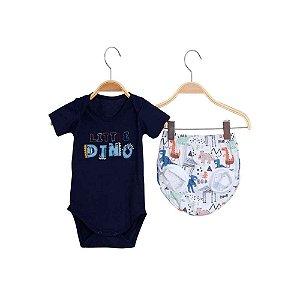 Conjunto Bebê Body e Tapa Fralda Dinossauro - Marinho - Bbeka