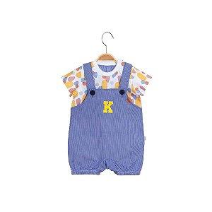 Jardineira Curta Bebê Menino - Pedrinhas - Amarela - Keko