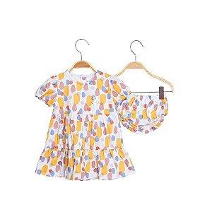 Vestido bebê em Camadas com Calcinha - Pedrinhas - Keko