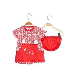 Vestido Bebê com Bolso Cat - Vermelho - Keko