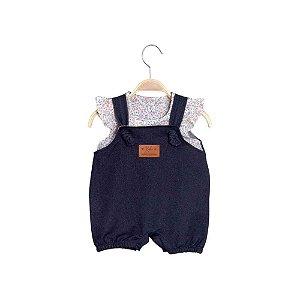 Jardineira Curta Bebê Menina Jeans Liberty - Keko