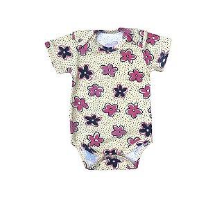 Body Bebê Cotton Light Manga Curta - Florzinha - Amarelo  - Deka Baby