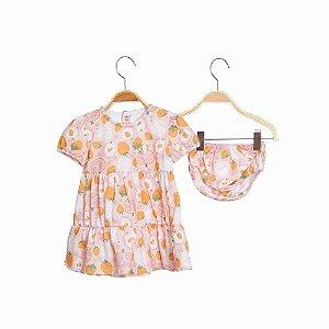 Vestido Bebe em Camadas Com Calcinha - Frutinhas - Rosa - Keko