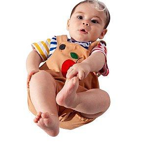 Jardineira Curta Bebê Menino com Blusa Listrada - Keko