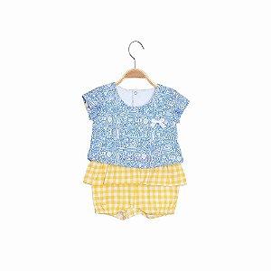 Macacão Curto Camiseta Bebê Menina - Feirinha - Azul - Keko