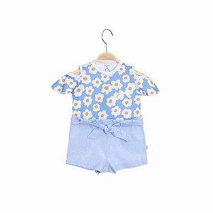 Macacão Bebê Shorts Cintura Alta - Dayse - Azul - Keko
