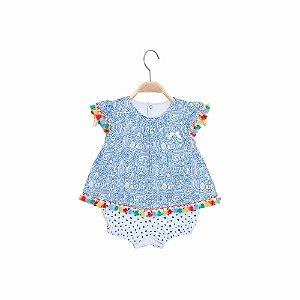 Macacão/Bata Curto Bebê Menina - Feira Color - Azul - Keko
