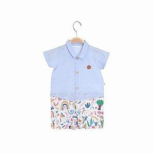 Macacão Curto Camisa de Botão - Chambray - Bebê Menino - Azul - Keko