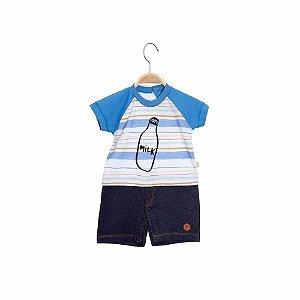 Macacão Curto Camiseta Menino Bebê -  Steck Milk - Azul - Keko
