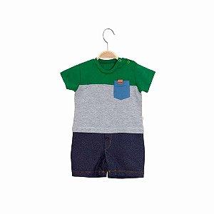Macacão Curto Com Bolso  Bebê Menino - Listrado - Keko