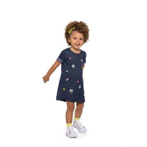 Vestido Bebe Jeans com Pompom - Fakini