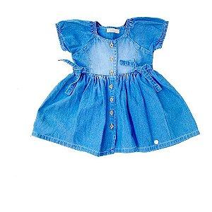 Vestido Bebê Jeans Franzido Manga Princesa - Vigat