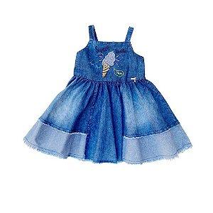 Vestido Infantil Jeans Regata e Bordado - Sweet Vanilla - Vigat