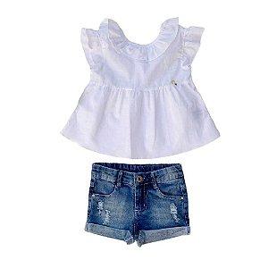 Conjunto Infantil Feminino Shorts Jeans com Bata - Branca - Vigat