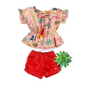 Conjunto Infantil Feminino Shorts e Bata Cinturada - Vermelho - Vigat