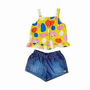Conjunto Infantil Feminino Shorts e Bata Colorida - Vigat
