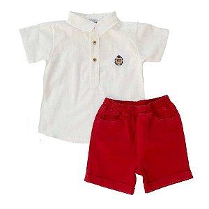 Conjunto Infantil Bermuda e Bata em Tricoline - Vermelho - Vigat