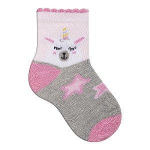 Meia Bebê Menina - Unicórnio - 16-19/20-22 - 4 à 7 meses e 8 à 12 meses