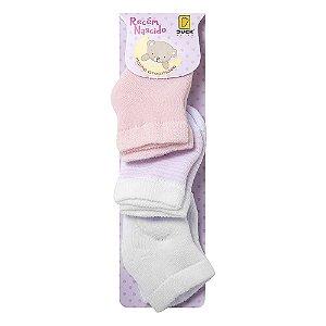 Kit 3 Meias Bebê Branca/Rosa/ Listrada - RN 0 à 3 Meses