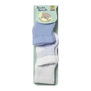 Kit 3 Meias Bebê Branca/Azul/ Listrada - RN - 0 à 3 Meses