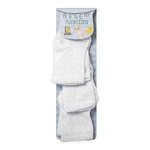 Kit 3 Pares de meia Bebê Recem Nascido Branca - 0 à 3 Meses