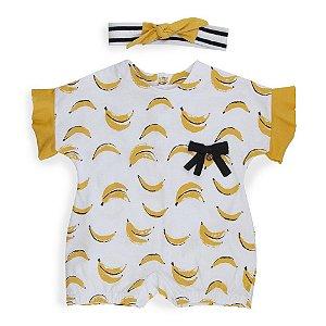 Macacão Bebê  Bananas + Faixa de cabelo - Keko Baby