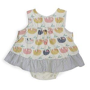 Vestido Costas Abertas - Bicho Preguiça - Bebê Menina