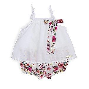 Macacão Bata Shorts Floral + Laço - Keko Baby