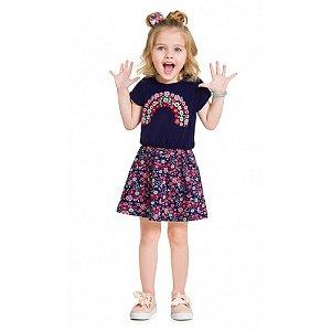 Vestido Infantil Feminino Flor Arco Iris - Kyly