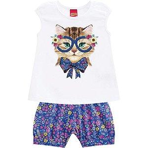 Conjunto Bebê Feminino Gato com Óculos - Kyly