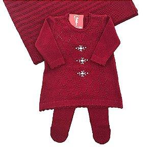 Saída de Maternidade Luxo Tricô Menina - Vestido + Calça + Manta