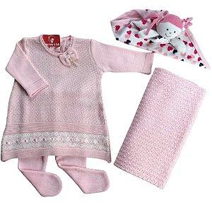 Saída de Maternidade Tricô Desirée - Vestido + Calça + Manta