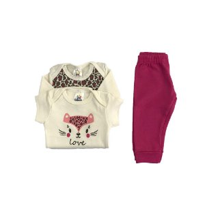 Kit Body e calça bebê Menina Estampa Gatinha -  Look Infantil