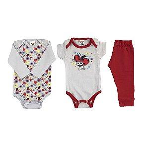 Kit Body e calça bebê Menina Estampa Joaninha -  Look Infantil