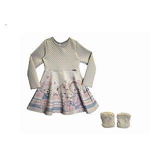 Vestido Infantil Manga Longa e Polainas - KUKIÊ