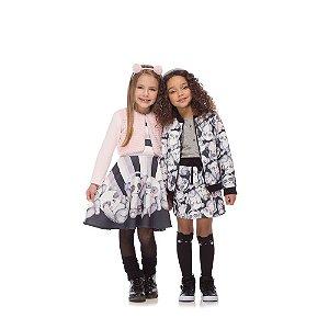 Vestido Infantil em Ponto Roma e Bolero em Molecotton e Pelo - Kukie