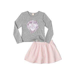 Blusa em Cotton e Saia em Pelo com short - Infanti