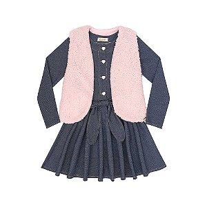 Vestido Infantil Manga Longa em Malha Denim e Colete em Pelo - KUKIÊ