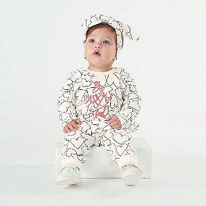 Macacão Bebê Menina Manga Longa em Molecotton com Faixa de Cabelo - UP BABY