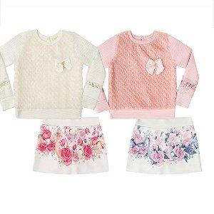Blusão em Jacquard e Pelo + Shorts Saia em Ponto Roma - Infantil