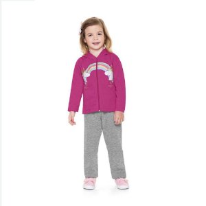 Conjunto Infantil Feminino Jaqueta e calça Unicórnio - Fakini