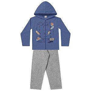 Conjunto de Moletom Infantil Masculino Jaqueta Com Capuz e Calça New York City - Fakini