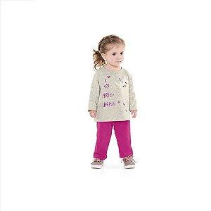 Conjunto Infantil Feminino de Moletom - Estampa de Lhama - Fakini