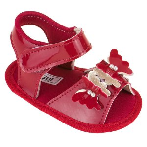 Sandália Bebê Menina Borboleta - Vermelha Verniz