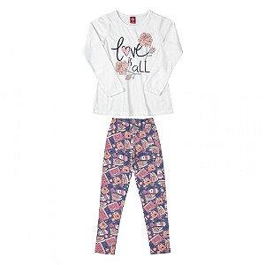 Conjunto Infantil Feminino Blusa em Malha com Glitter e Calça em Cotton
