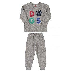 Conjunto Infantil Masculino Casaco e Calça em Moleton sem Felpa - DOGS