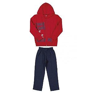 Conjunto Infantil Masculino Jaqueta e Calça em Moletom - Vermelho